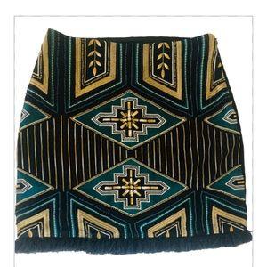 H & M Tribal Beaded Embroidered Mini Skirt